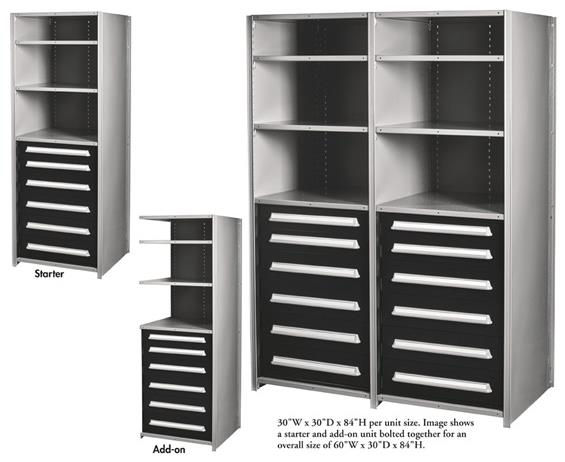 PRE-ENGINEERED MODULAR DRAWERS IN SHELVING UNITS